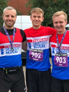 Joe, Duncan and Alex at the finish line post-race and pre-pub